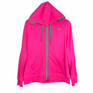 Fila Sport Zip Up Hoodie Neon Pink/Green